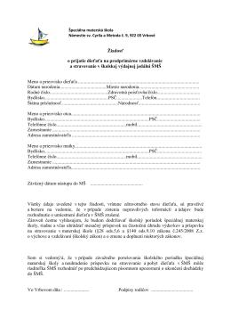 Žiadosť o prijatie do MŠ