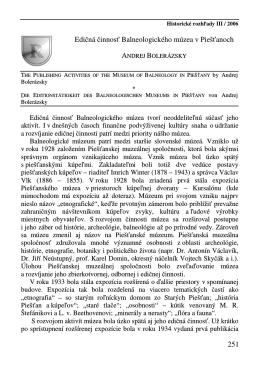 251 Edičná činnosť Balneologického múzea v Piešťanoch