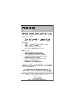 Zoraďovač - operátor - Panasonic Industrial Devices Slovakia sro