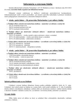 Informácia o externom štúdiu