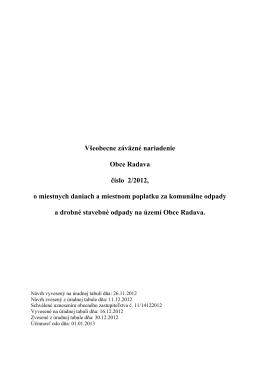 Všeobecne záväzné nariadenie Obce Radava číslo 2/2012, o