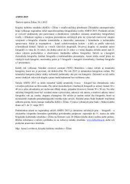 AMFO 2015 Tlačová správa Žilina, 20.1.2015 Krajské kultúrne
