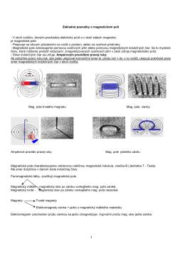 Základné poznatky o magnetickom poli. - V okolí vodičov