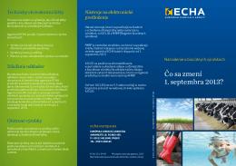 Čo sa zmení 1. septembra 2013? - ECHA