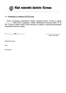 Oznámenie o vystúpení z KVH Tyrnau