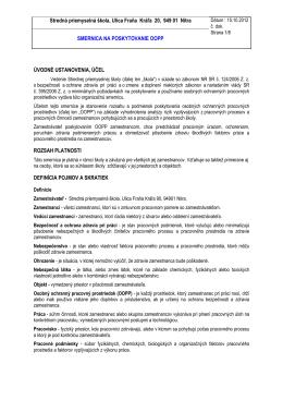 Smernica na poskytovanie OOPP - Stredná priemyselná škola
