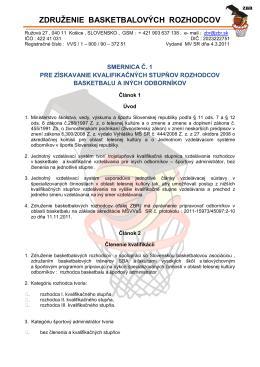 Smernica pre získavanie kvalifikačných stupňov rozhodcov