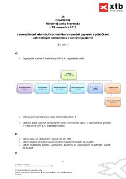 Opatrenie NBS z 29. novembra 2011 o - X