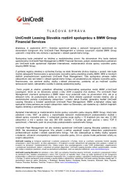 UniCredit Leasing Slovakia rozšíril spoluprácu s BMW Group