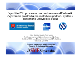 Využitie ITIL procesov pre podporu non-IT oblastí