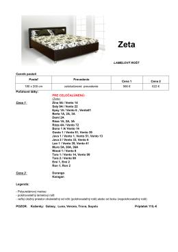 Cenník postelí Poťahové látky: PRE CELOČALÚNENÚ: (Zeta) Cena