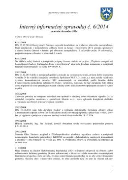 Interný informačný spravodaj č. 6/2014
