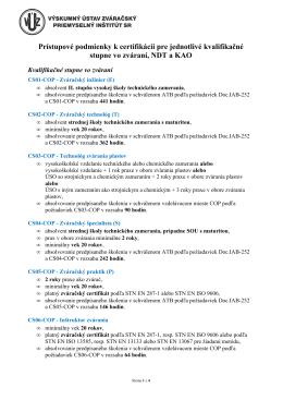 Prístupové podmienky COP