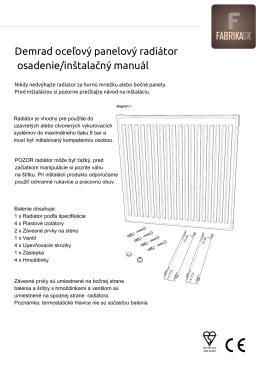 Demrad oceľový panelový radiátor osadenie/inštalačný