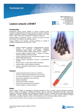 Technický list Lepiace ampule LOKSET