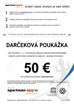 Darčeková poukážka - Ubytovanie Banská Štiavnica