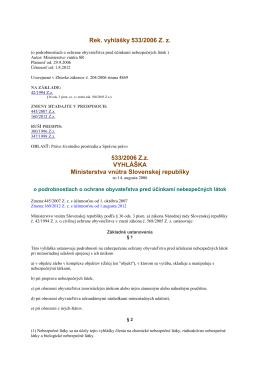 Vyhlaska MV SR o ochrane obyvatelstva pre ucinkami