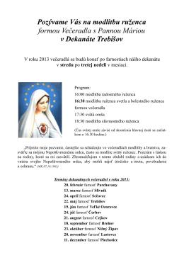 Pozývame Vás na modlitbu ruženca formou Večeradla s Pannou