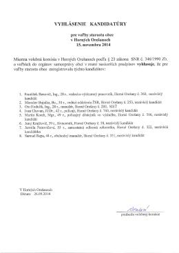 Zoznam zaregistrovaných kandidátov pre voľby do OZ a pre voľby