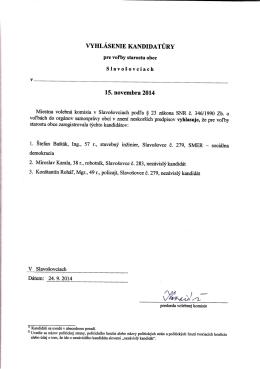 Vyhlásenie kandidatúry pre voľbu starostu obce