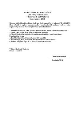 VYHLÁSENIE KANDIDATÚRY pre voľby starostu obce v Bánovciach