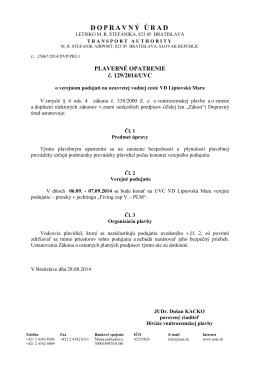 Plavebné opatrenie č. 129/2014/UVC