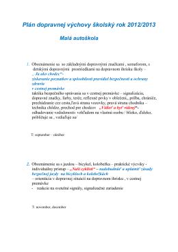 Plán dopravnej výchovy na školský rok 2011/2012