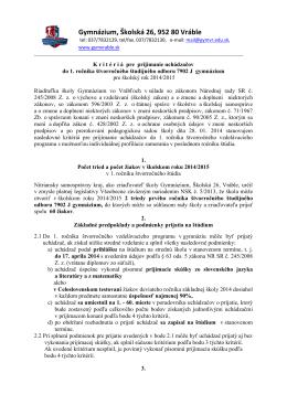Gymnázium, Školská 26, 952 80 Vráble