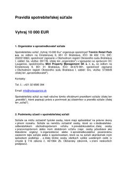 Pravidlá spotrebiteľskej súťaže Vyhraj 10 000 EUR