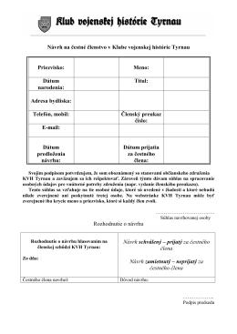 Návrh KVH Tyrnau