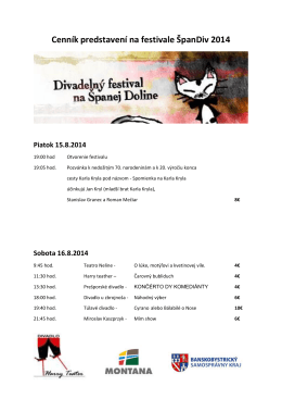 Cenník predstavení na festivale ŠpanDiv 2014