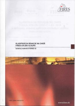 Klasifikácia reakcie na oheň FIRES-CR-205-12-AUPS001