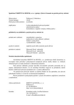 Spoločnosť IKRÉNYI & REHÁK, s.r.o. vypisuje výberové konanie na