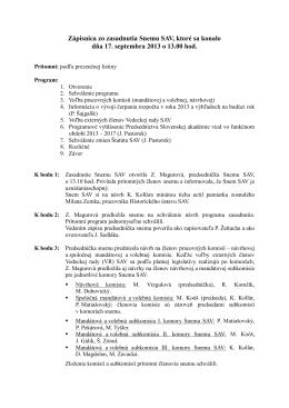 Zápisnica zo zasadnutia Snemu SAV 17.09.2013