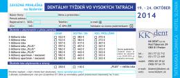 Prihláška na Dentálny týždeň 2014