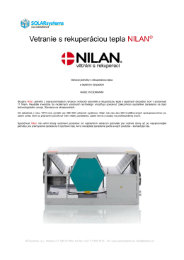 Vetranie s rekuperáciou tepla NILAN®