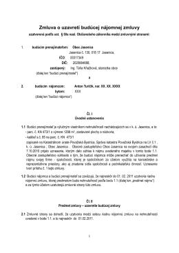 Zmluva o uzavretí budúcej nájomnej zmluvy