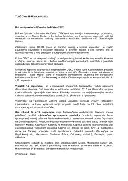 Tlačová správa - Združenie historických miest a obcí SR