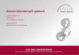 Zoznam poskytovaných vyšetrení, Bratislava.