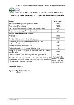 Rádiologické oddelenie - Nemocnica s Poliklinikou