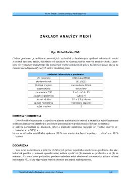 ZÁKLADY ANALÝZY MÉDIÍ - Michal Bočák