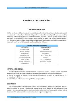 METÓDY VÝSKUMU MÉDIÍ - Michal Bočák