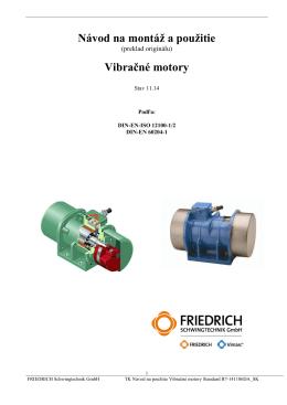 Návod na montáž a použitie Vibračné motory