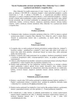 Návrh Všeobecného záväzné nariadenie Obce Záhorská Ves č. 1