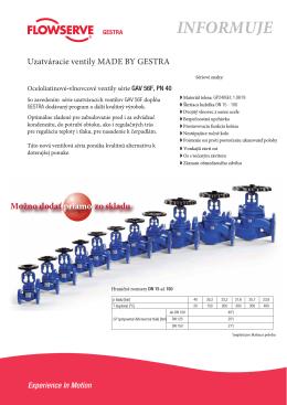 Vlnovcové uzatváracie ventily GAV 56F PN40