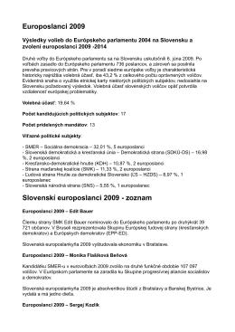 Europoslanci 2009 Slovenskí europoslanci 2009 - zoznam