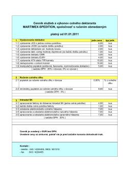 Cenník služieb colnej deklarácie (.pdf) - MARTIMEX