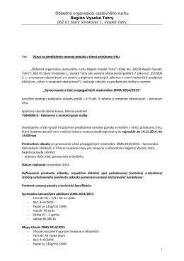 Spracovanie a tlač propagačných materiálov ZIMA 2014/2015