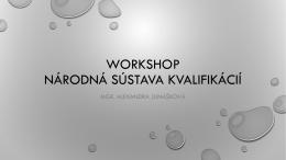Workshop Národná sústava kvalifikácií