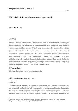 Úloha inštitúcií v sociálno-ekonomickom rozvoji